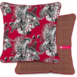 COUSSIN DÉCO ROUGE VELOURS JUNGLE