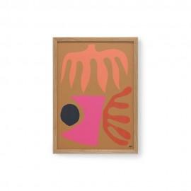 Tableau abstrait cadre bois HK Living Marcello Velho