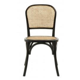 nordal wicky chaise classique bois bicolore rotin noir bois clair
