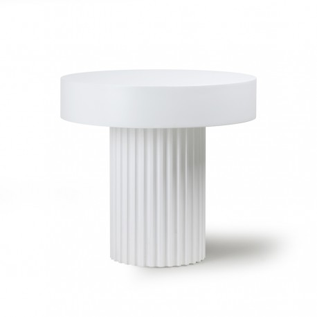 Table basse d'appoint ronde bois HK Living Pillar blanc