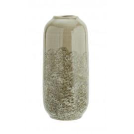 madam stoltz vase ovale haut gres gris taupe