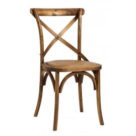 Chaise de bistrot classique bois de chêne rotin Nordal