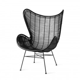 hk living egg chair fauteuil lounge design rotin noir