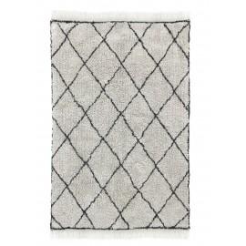 hk living tapis berbere losanges franges blanc noir 120 x 180 cm