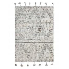 hk living tapis style berbere noir blanc franges 120 x 180 cm