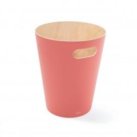 umbra woodrow corbeille a papier en bois rose corail 082780-180