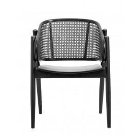Chaise lounge style classique bois rotin tressé Nordal Wicky noir
