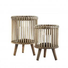 madam stoltz set de 2 lanternes sur pieds bois de bambou