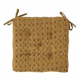 galette de chaise carree coton imprime jaune moutarde madam stoltz