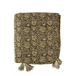 madam stoltz couvre lit coton imprime vert pompons 140 x 200 cm