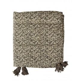 madam stoltz boutis couvre lit coton imprime fleuri gris pompons