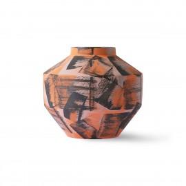 hk living vase design ceramique brossee orange noir