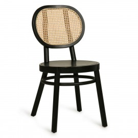 hk living retro chaise ronde bois noir rotin tresse