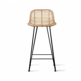 hk living tabouret de bar rotin nature metal noir