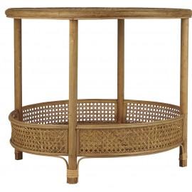 table basse ronde 2 niveaux rotin tresse style retro ib laursen