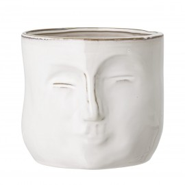 bloomingville cache pot masque visage gres blanc