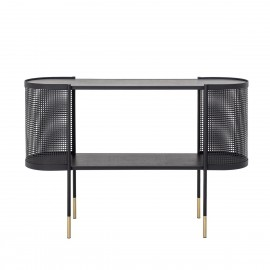 bloomingville table console design arrondi rangement metal perfore noir