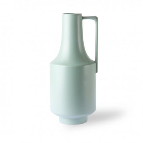 hk living vase haut ceramique vert pastel avec poignee