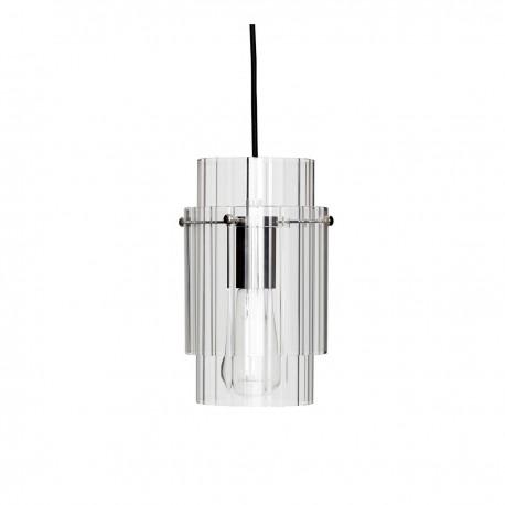 suspension style art deco verre transparent metal argent hubsch