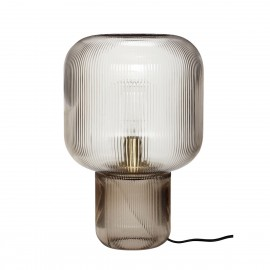hubsch lampe de table design verre strie fume gris