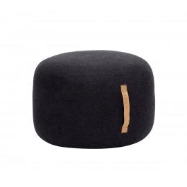Pouf rond noir laine Hübsch