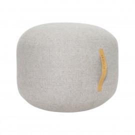 Pouf laine tissu à chevrons poignée cuir Hübsch gris