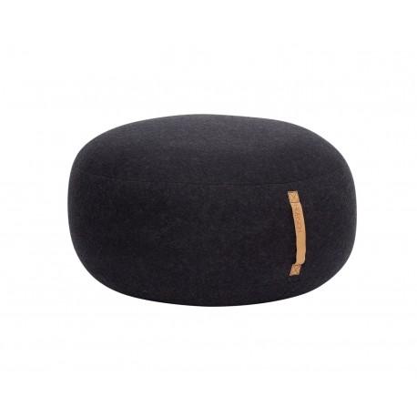 hubsch grand pouf rond laine gris fonce 709006