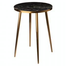 pols potten table bout de canape ronde effet marbre noir metal dore