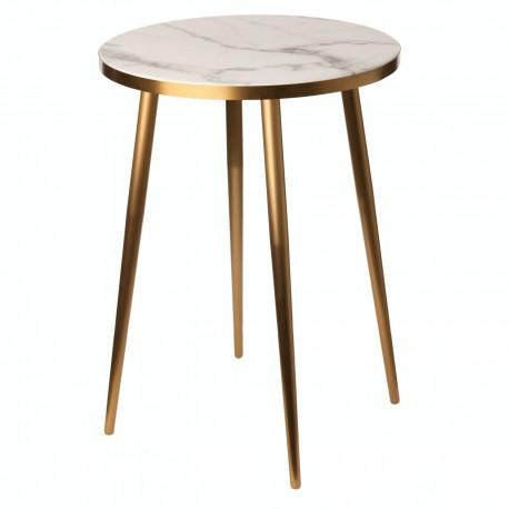 Bout de canapé rond métal doré effet marbre Pols Potten blanc