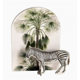 studio roof pop out card decoration sculpture en carton zebre tropical