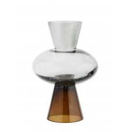 madam stoltz vase design retro bicolore marron