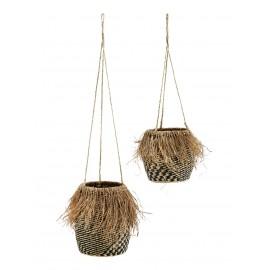 madam stoltz set de 2 pots suspendus herbier tresse noir nature franges