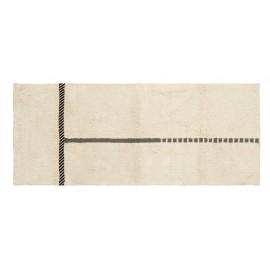 tapis tufte coton blanc ligne noire nordal zenia 88 x 213 cm
