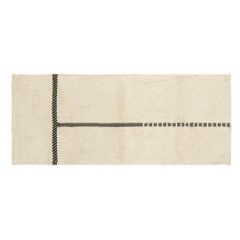 Tapis coton tufté coton blanc ligne noire Nordal Zenia