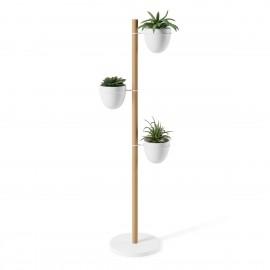 umbra floristand porte plantes 3 pots design contemporain blanc bois