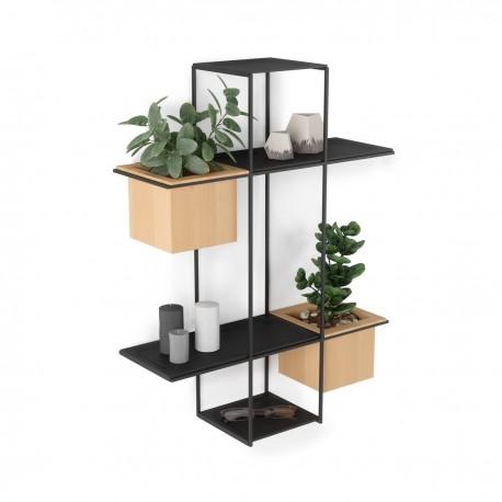 umbra cubist etagere murale design metal noir 2 porte plantes bois