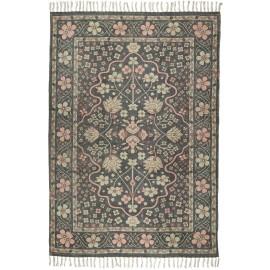 ib laursen tapis coton noir motif fleuri 120 x 180 cm