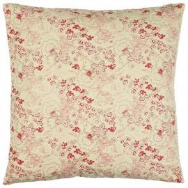ib laursen housse de coussin coton beige imprime fleuri rouge