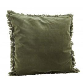 madam stoltz housse de coussin velours franges vert jade 50 x 50 cm