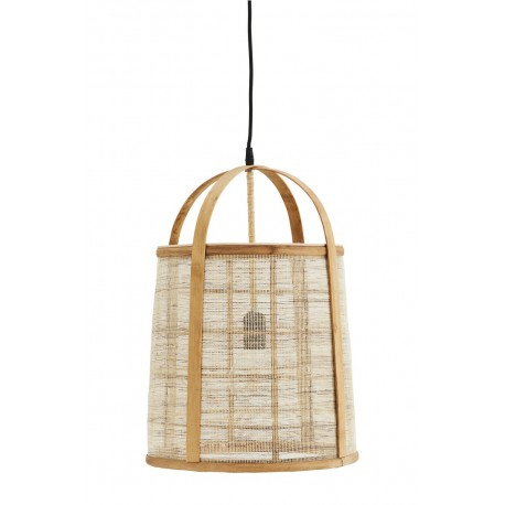 grande suspension lanterne bambou toile de lin madam stoltz