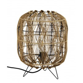 Lampe de table lanterne bois bambou Madam Stoltz
