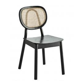 madam stoltz chaise retro bois noir dossier rond cannage rotin
