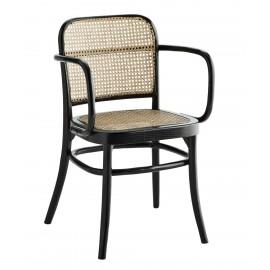 chaise avec accoudoirs noire bois cannage rotin naturel madam stoltz