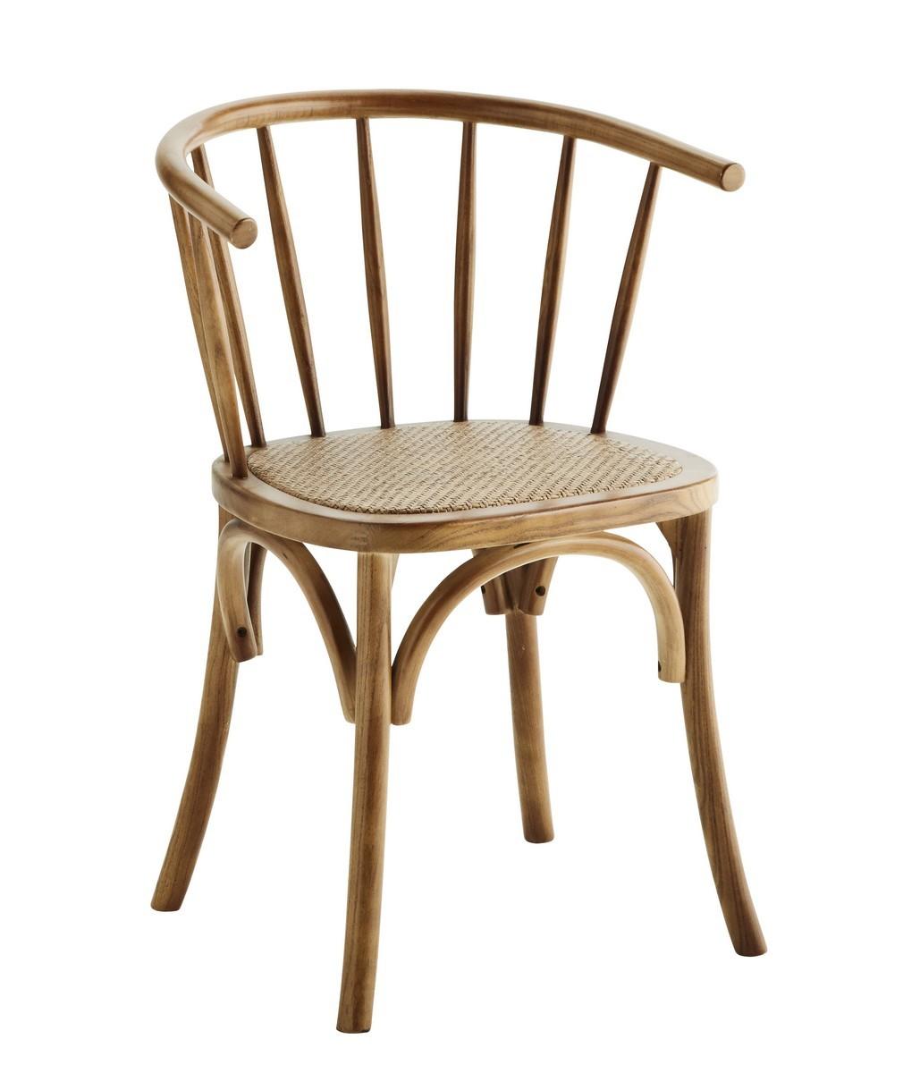 chaise retro bois naturel dossier arrondi barreaux rotin madam stoltz