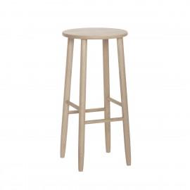 hubsch tabouret de bar rond epure style scandinave bois chene clair