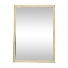 hubsch petit miroir mural rectangulaire cadre bois chene bois clair