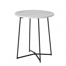 table bout de canape ronde marbre blanc metal noir bloomingville anou