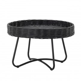 bloomingville hattie table basse ronde rotin noir