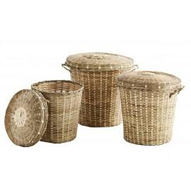 Set de 3 paniers bambou tressé avec couvercle Madam Stoltz