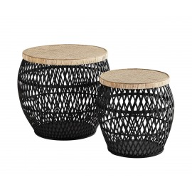 Set de 2 tables basses rondes rotin bambou Madam Dtoltz